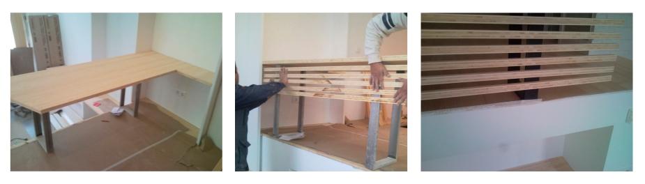 Gahecor realizando mueble a medida en reforma integral de vivienda Loft en Madrid
