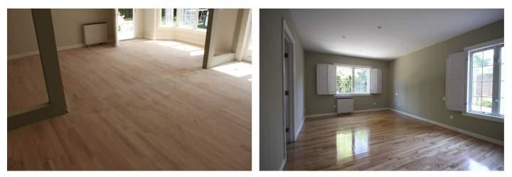 Acuchillado y barnizado de tarima parquet de madera de roble natural en reforma integrald de vivienda de Gahecor.jpg