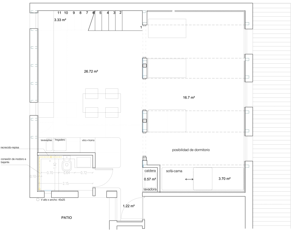 Plano de vivienda abuhardillada buhardilla.jpg